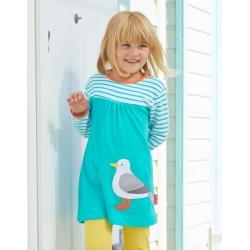Toby tiger - Bio Kinder Kleid mit Möwen-Applikation und Streifen