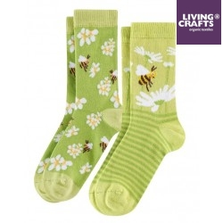 LIVING CRAFTS - Bio Kinder Strümpfe Doppelpack mit Bienen- und Blumen-Motiv