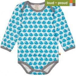 loud + proud - Bio Baby Body langarm mit Vogel-Druck, petrol