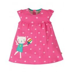 """frugi - Bio Baby Jersey Kleid """"Little Lola"""" mit Katzen-Applikation und Punkten"""
