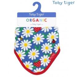 Toby tiger - Bio Baby Tuch mit Gänseblümchen-Allover und Fleece-Rückseite