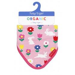 Toby tiger - Bio Baby Tuch mit Hasen-Allover und Fleece-Rückseite