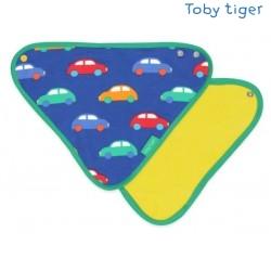 Toby tiger - Bio Baby Tuch mit Auto-Allover und Fleece-Rückseite