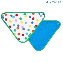 Toby tiger - Bio Baby Tuch mit Konfetti-Allover und Fleece-Rückseite