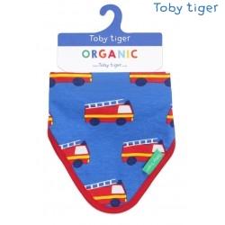 Toby tiger - Bio Baby Tuch mit Feuerwehr-Allover und Fleece-Rückseite