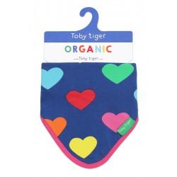 Toby tiger - Bio Baby Tuch mit Herzen-Allover und Fleece-Rückseite