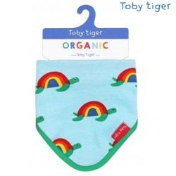 Toby tiger - Bio Baby Tuch mit Schildkröten-Allover und Fleece-Rückseite