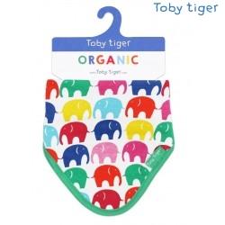 Toby tiger - Bio Baby Tuch mit Elefanten-Allover und Fleece-Rückseite