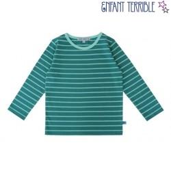 Enfant Terrible - Bio Kinder Langarmshirt mit Streifen, petrol-ocean