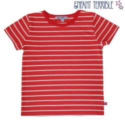 Enfant Terrible - Bio Kinder T-Shirt mit Streifen, coral-white