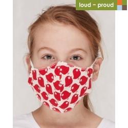loud + proud - Bio Kinder Mund- und Nasenmaske mit Vogel-Druck, rot
