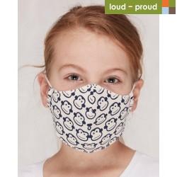 loud + proud - Bio Kinder Mund- und Nasenmaske mit Affen-Druck, blau