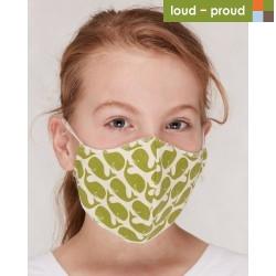 loud + proud - Bio Kinder Mund- und Nasenmaske mit Wal-Druck, grün