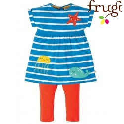 "frugi - Bio Baby Set Kleid + Leggings ""Olive"" mit Meerestieren-Applikation"