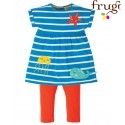 "frugi - Bio Baby Set Kleid + Leggings ""Olive"" mit Meerestieren-Applikation"
