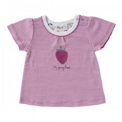 People Wear Organic - Bio Baby T-Shirt mit Streifen und Erdbeer-Motiv