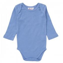 People Wear Organic - Bio Baby Body langarm mit Mäusezähnen, blau