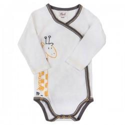People Wear Organic - Bio Baby Wickelbody langarm mit Giraffen-Motiv