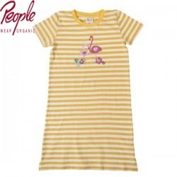 People Wear Organic - Bio Kinder Nachthemd mit Flamingo-Motiv und Streifen