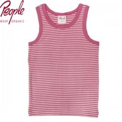 People Wear Organic - Bio Kinder Unterhemd mit Streifen, rose