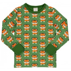 "Maxomorra - Bio Kinder Langarmshirt ""Tangerine Tiger"" mit Tiger-Allover"