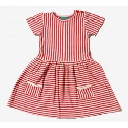 Little Green Radicals - Bio Kinder Jersey Kleid mit Streifen, rot
