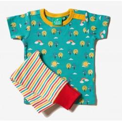 Little Green Radicals - Bio Baby Set Shirt und Hose mit Regenbogen-Motiv und Streifen
