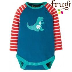 frugi - Bio Baby Body mit Dino-Druck und Streifen