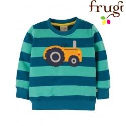"""frugi - Bio Baby Sweathshirt """"Jump"""" mit Traktor-Applikation und Streifen"""