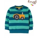 """frugi - Bio Baby Sweatshirt """"Jump"""" mit Traktor-Applikation und Streifen"""