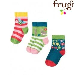 frugi - Baby Strümpfe 3er-Pack mit Blumen-, Hasen- und Bienen-Motiv