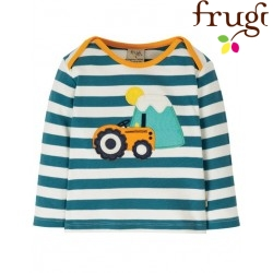 "frugi - Bio Baby Langarmshirt ""Bobby"" mit Traktor-Motiv und Streifen"