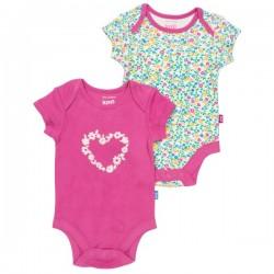kite kids - Bio Baby Body Doppelpack mit Wildblumen- und Herzen-Motiv