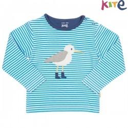 kite kids - Bio Kinder Langarmshirt mit Strandläufer-Applikation und Streifen