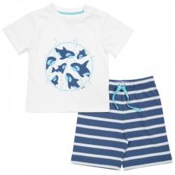 kite kids - Bio Kinder Set T-Shirt und Shorts mit Wal-Druck und Streifen