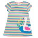 kite kids - Bio Kinder Kleid mit Streifen und Schwan-Applikation