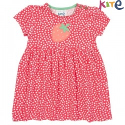 kite kids - Bio Kinder Kleid mit Punkten und Erdbeer-Applikation