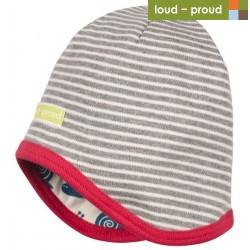 loud + proud - Bio Kinder Wende Mütze mit Streifen und Schnecken-Druck, grau