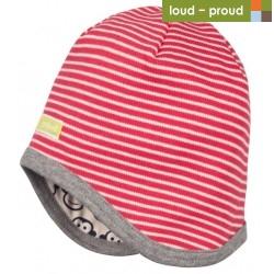 loud + proud - Bio Kinder Wende Mütze mit Streifen und Affen-Druck, grau
