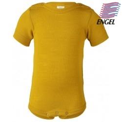 ENGEL - Bio Baby Body kurzarm, Wolle/Seide, safran