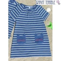 Shirtkleid mit Streifen und Katzentaschen