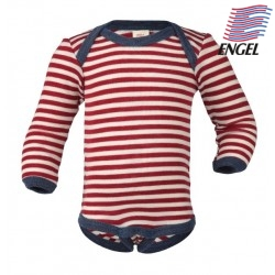 ENGEL - Bio Baby Body langarm gestreift, Wolle, rot/natur
