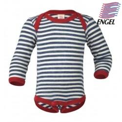 ENGEL - Bio Baby Body langarm gestreift, Wolle, blau/natur