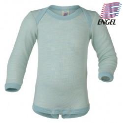 ENGEL - Bio Baby Body langarm gestreift, Wolle/Seide, gletscher/natur