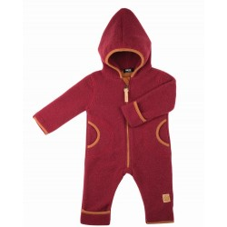 pure pure by BAUER - Bio Baby Fleece Overall mit Kapuze, Wolle, burgund