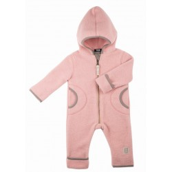 pure pure by BAUER - Bio Baby Fleece Overall mit Kapuze, Wolle, rosa