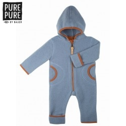 pure pure by BAUER - Bio Baby Fleece Overall mit Kapuze, Wolle, hellblau