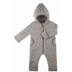 pure pure by BAUER - Bio Baby Fleece Overall mit Kapuze, Wolle, grau