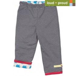 loud + proud - Bio Baby Wende Sweathose mit Streifen und Igel-Motiv, navy