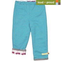 loud + proud - Bio Baby Wende Sweathose mit Streifen und Ameisen-Motiv, petrol